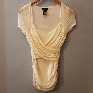 Layered Sheer Ruched Lace Elegant V neck Blouse
